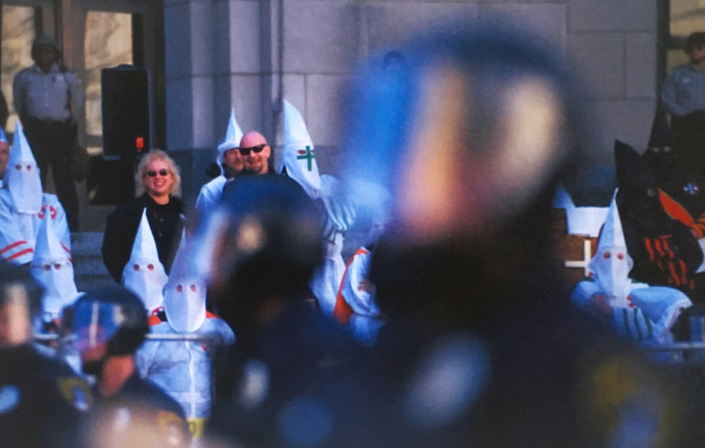 In the year 2000, the KKK protested on the steps of the Jefferson County Courthouse in Birmingham - Alabama. Photo by Karim Shamsi-Basha